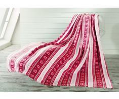 Gözze, plaid, microfibre, 150x200 cm, motif rêve d'hiver rouge, toucher agréable, chaleur, douceur et moelleux, souplesse et légèreté, objet de déco, idéal pour s'envelopper sur un canapé
