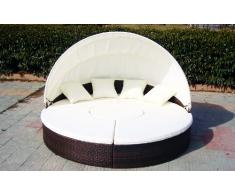 Baidani Atlantis Canapé lounge d'extérieur rond XXL noir