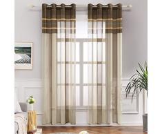 MIULEE Lot de 2 Décorative Rideaux Voilage Imprimes Fenêtre Design Moderne Uni à Oeillets Décoration pour Maison Salon Cuisine Chambre 140x245cm Blanc+Brun Clair