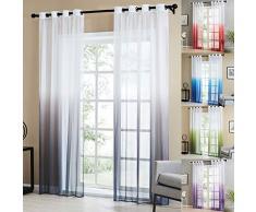 Topfinel 2pcs Rideaux Voilage Gris en Dégradé Décoration de Fenêtre de Salon Moderne Voilage Cuisine Transparent à Oeillets, 140x160cm(Largeur x Hauteur)