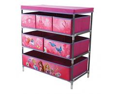 Fun House 712674 Etagère avec 6 Casiers/Couvercle pour Enfant Métal/Polyester/Carton Rose 66 x 30 x 63,5 cm