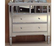 Port de Soller Valetta Grande Effet Miroir/Bois Commode Multi 4 tiroirs Meubles de Chambre à Coucher