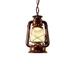 INJUICY Industrielle Vintage Retro E27 Led Edison Métal Lanterne Lampe Suspensions Lustre Plafonniers en Verre Kérosène Eclairage de Plafond pour Chevet Cuisine Salle à manger Salon Chambre Restaurant (Noir)