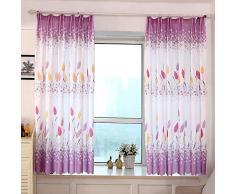 kingko® Country Style Imprimer Rideaux de fenêtre Sheer Pour Salon Chambre 100cm x 200cm (Violet)