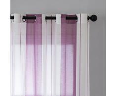 Miulee Lot DE 2 Décorative Rideaux Voilage Imprimes Fenêtre Design Moderne Uni à Oeillets Décoration pour Maison Salon Cuisine Chambre 140x225cm Blanc+Violet