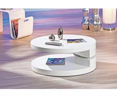 Table basse ronde à 3 plateaux pivotants coloris blanc