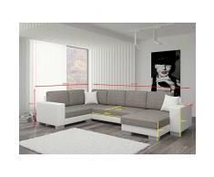 JUSThome Marco II Canapé d'angle panoramique sofa ensemble de salon Tissu structuré Cuir écologique (lxLxH): 145-206x303x86 cm Blanc Noir Angle droit