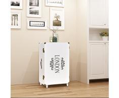 Festnight Meubles de Rangement avec Roues Style Vintage Commode Armoire Blanc 40 x 30,5 x 81 cm