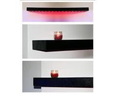 Nouveau noir brillant Étagère flottante en bois avec lumières LED et tablettes Rouge