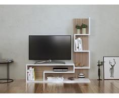MIMOSA Ensemble de meubles de salon - Blanc (brillant) / Avola - Meuble TV dans es couleurs brillantes avec étagères en moderne design