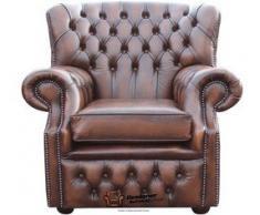 Chesterfield Fauteuil à oreilles BONZES dossier haut Marron Antique fauteuil fabriqué au Royaume-Uni