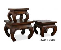 Livasia Table Basse en Opium | Table dappoint Marron foncé | Bois dacacia | Décoration Asiatique Faite à la Main en Thaïlande (30x30cm)