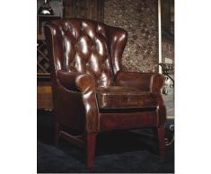Chesterfield Fauteuil en Cuir Marron Vintage en cuir véritable Fauteuil à oreilles Design Fauteuil Club Lounge Fauteuil