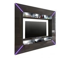 Maisonnerie 1536-951-21 Meuble TV Media Design Scooter Gris Ultrabrillant LxHxP 201x180x35 cm