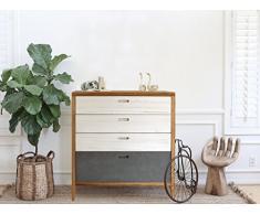 Rebecca Mobili RE4577 Commode avec 4 tiroirs, Bois de Paulownia, pin, Blanc/Bleu/Marron, scandinave Chambre Salon