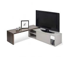 MOVE, meuble TV extensible et pivotant - Noyer / Gris mat