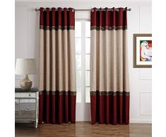 GWELL 1 Pièce Rideaux de Fenêtre Occultant Rideau Opaque Rideau de Salon Chambre Rouge & beige 245 x 140 cm