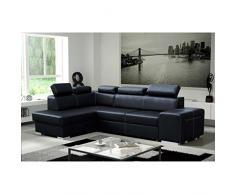 JUSThome LORENZO Canapé d'angle en cuir écologique Noir L x P 275 / 170 cm