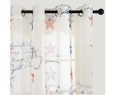 TopFinel Rideaux Voilages de fenêtre Bonnes Étoiles imprimées pour Salon Chambre,140cm(Longueur)x245cm (Largeur), à oeillets, un paneau