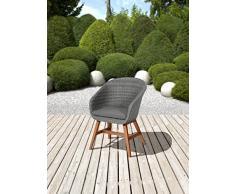 greemotion Chaise de Jardin Madeira, Fauteuil de Jardin en Polyrotin et Bois d'Acacia 100% FSC, Résine Tressée, Chaise Bistro, env. 60 x 82 x 66 cm, Gris/Marron