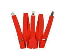 Szaerfa Hommes / Femmes Unisexe Adjustable Clip-on Bretelles Y-back Suspensions élastiques (rouge)