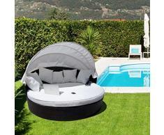 Luxurygarden Alia Canapé de jardin rond en rotin Chaise longue Marron