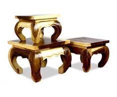 Livasia Table Basse en Opium | Table dappoint | Bois de suar | Décoration Asiatique Matériaux Fins fabriqués à la Main en Thaïlande (30x30cm)