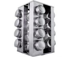 Jago - Présentoir Étagère à Épices Pivotante avec 16 Pots 14 x 14 x 24,5 cm