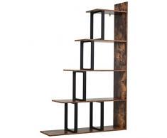 Homcom Étagère bibliothèque séparateur de pièce Style Industriel en escalier 5 étagères dim. 102L x 30l x 160H cm Acier Noir Panneaux Particules Aspect Vieux Bois chêne