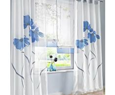 SIMPVALE 2 Pièces Rideaux de la Salon à Oeillet Imprimé Floral Manuel Largeur 150cm (Hauteur 145cm, Bleu)