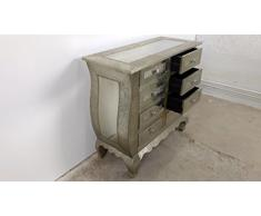 Indoortrend.com Melko Commode 8 tiroirs Vintage Argent patiné –/Aluminium Pomp Baroque