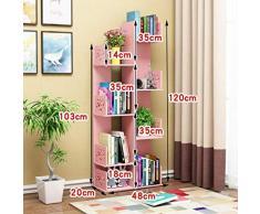 Bibliothèque polyvalente, échelle plateau autoportant d'angle de stockage Bibliothèque, Organisateur multi-couche rack Vitrine (Color : Pink)