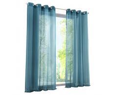 BAILEY JO 1Pièce Rideau Voilage LxH/140x175cm Couleur Uni Bleu Rideaux à Oeillets Décoration de Fenêtre Chambre/Salon/Balcon