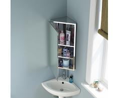 Armoire d'angle pour salle de bains avec miroir en acier inoxydable Meuble de rangement moderne MC101