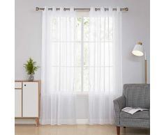 Deconovo Lot de 2 Rideaux Voilages Salon Decoration pour Chambre à Oeillets Blanc 140x229cm