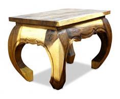 Livasia Table dopium, Table Basse | Table dappoint | Bois Massif | Décoration Asiatique Fabriqué à la Main en Thaïlande (Naturel)