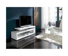 Meuble TV ZIRCO pivotant en bois laqué blanc brillant - L 141(200) x l 44 x H 48