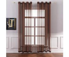 MIULEE 2 Panneaux Couleur Pure Rideaux De Fenêtre Transparents Lisse Élégant Panneaux Voile De Fenêtre Rideaux Traitement pour Chambre Salon Rideaux à Oeillets 140x245cm Chocolat
