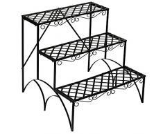 TecTake Etagère de jardin pour plantes escalier en fer 3 niveaux env. 60x60x60cm - charge max: env. 30 kg - diverses modèles (Droit   no. 401711)