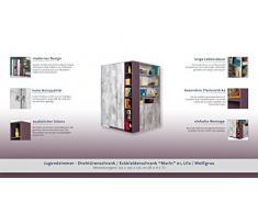 "Chambre d'adolescent - Armoire d'angle ""Marin"" 01, Lilas / Blanc-Gris - Dimensions: 135 x 195 x 135 cm (L x H x P)"
