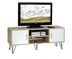 Meuble banc TV design EVA MDF décor blanc et chêne sonoma pieds métalliques noirs