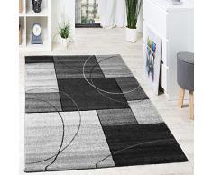 Tapis Design Grande Qualité Motif Á Lignes Et Carré Anthracite Gris Crème, Dimension:200x290 cm