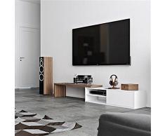 Move, Meuble TV Extensible et pivotant - Noyer/Blanc Pur