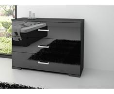 Commode design noir laqué à 3 tiroirs
