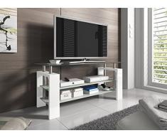 Meuble TV design 3 plateaux en verre 110 cm coloris blanc laqué