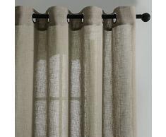 Top Finel Rideaux Voilages en faux Lin Semi-transparents de fenêtre pour Salon Cuisine Chambre , 140cmx160cm, à oeillets, 2 paneaux, kaki