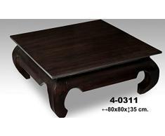 Table basse en bois de noyer modèle Opium dimensions : 80 * 80 * 35