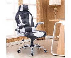 Luxe chaise de bureau fauteuil relaxion pivotant hauteur réglable inclinable en PU avec oreille cervicale et cousin lombaire blanc neuf