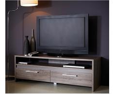 Meuble TV bas en bois 2 tiroirs + 1 niche coloris chêne foncé, L138.6 x P42.3 x H45.9 cm -PEGANE-