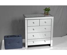Chic Furniture Commode à 5 tiroirs avec Miroir